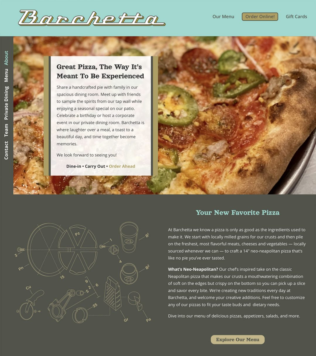 Barchetta Pizza (website)